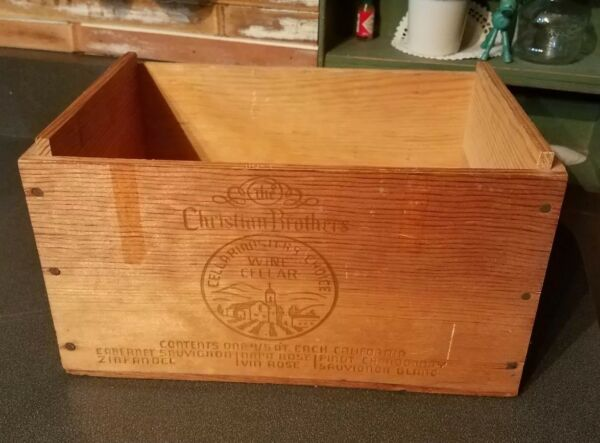 Vintage wooden wine crate Christian Brothers wood box Cellarmasters 11×7×6.5