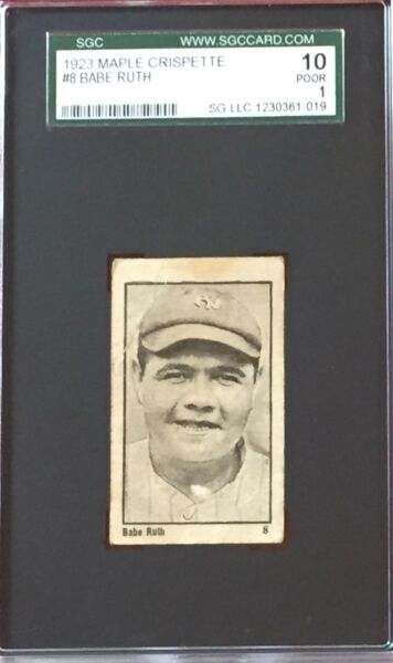 1923 Maple Crispette Babe Ruth #8 Well-Centered & Strong Eye Appeal  SGC 10 - 1