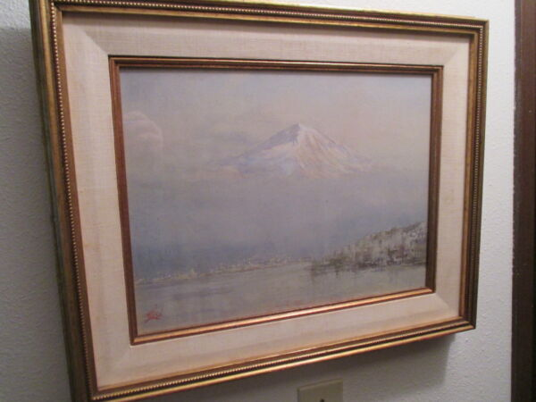 MCM PUGET SOUND Lionel Salmon vtg bainbridge island antique painting mt rainier