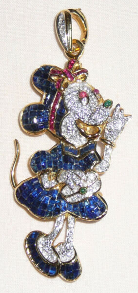 Gold diamond sapphire and ruby vintage style Minnie Mouse brooch  pendant