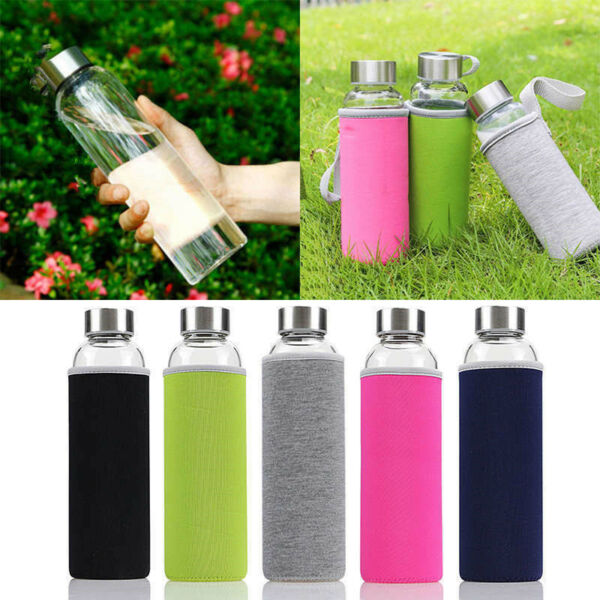 Sport Portable Glass Water Juice Bottle Drinking Lid Cup  Colors 280-600ml bg---
