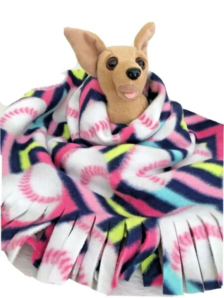 PINK BASEBALL Fuzee Fleece Dog Blankets Soft Pet Blanket Travel Throw Cover $12.60