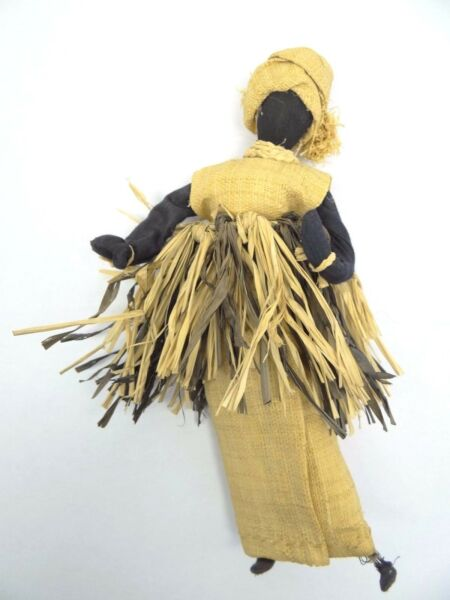 Vintage African Wire Frame Free Standing Burlap Dress Black Doll Straw Hat Used