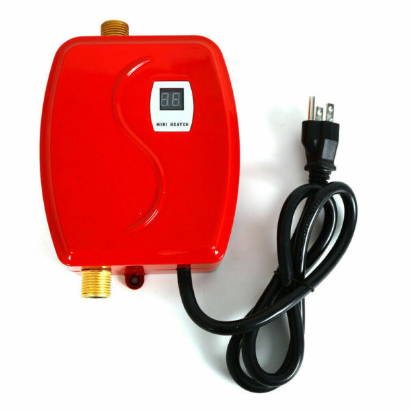 110V Mini Instant Electric Tankless Hot Water Heater Shower Kitchen Bathroom Red