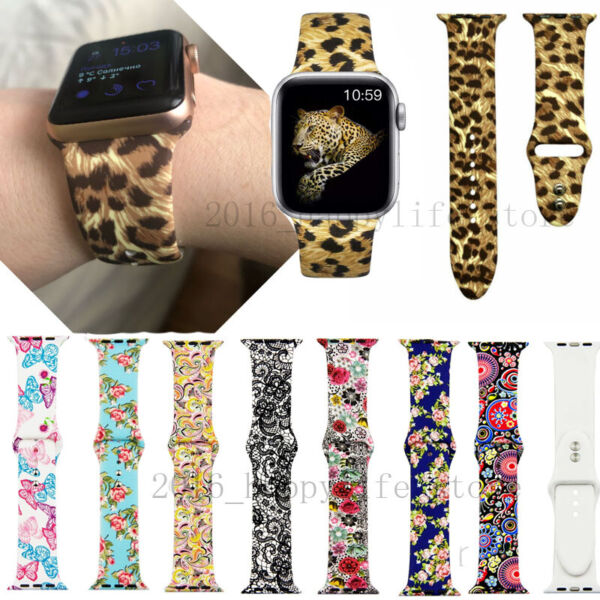Printed Silicone Strap for Apple Watch 38mm 40mm 42mm 44mm Sport band Wristband