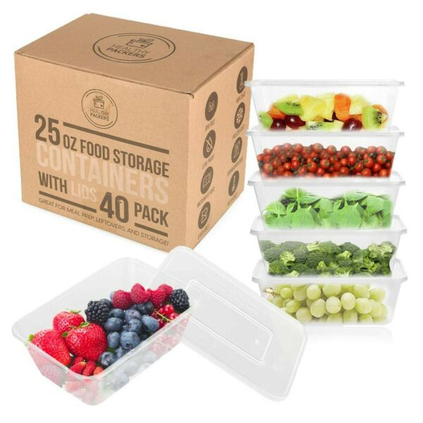 25 oz Food Storage Containers with Lids Disposable Meal Prep Plastic 40 Pack