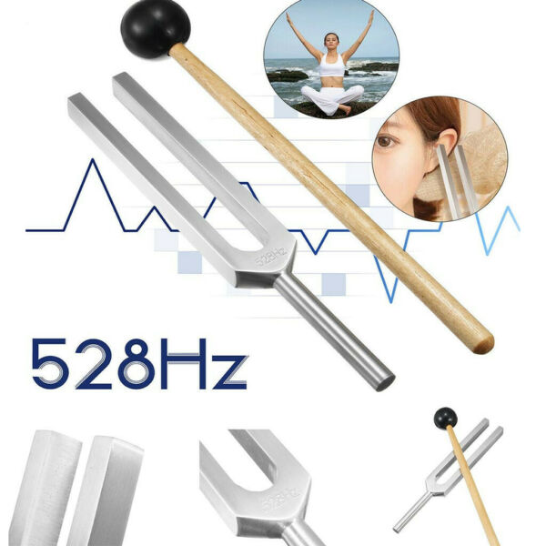 528Hz Frequency Tuning Fork Miracle Healing Set Aluminium Alloy Wood US Stock