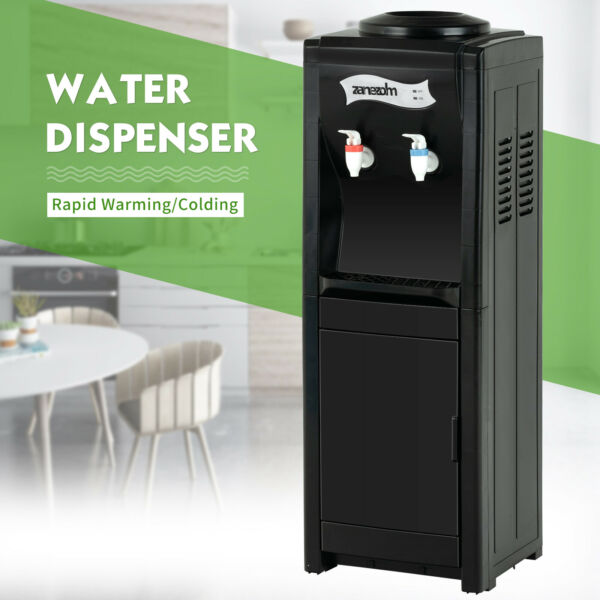 Electric Water Dispenser Cooler 5Gallon Top Loading Freestanding HotCold  Black