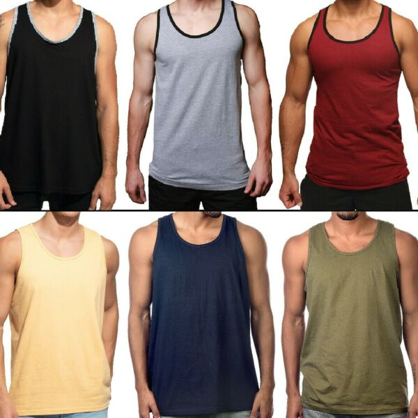 Men Tank Top Camo Sleeveless Gym A-Shirt Solid Workout Fitness Beach Army Muscle $10.50