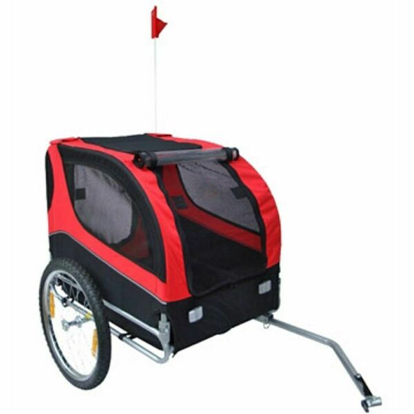 vidaXL Dog Bike Trailer Foldable Lassie Red Bicycle Pet Animals Wagon Carrier✓