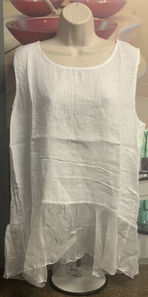 Women's Lungo L#x27;arno Puro Lino 100% Linen White Top Size Medium ART 88933