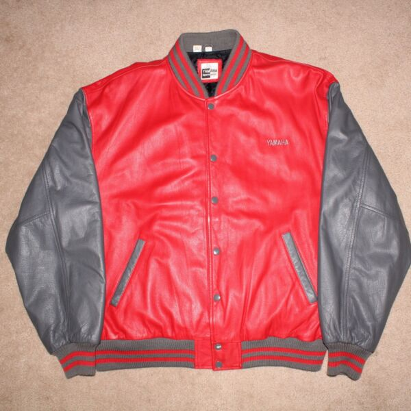 YAMAHA SPORTS WEAR RED amp; GREY LEATHER BUTTON FRONT XL MOTORCYCLE JACKET NICE $54.21