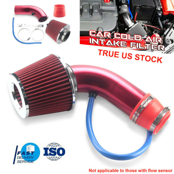 Red 3'' Car Cold Air Intake System Turbo Induction Pipe Tube Filter Aluminum