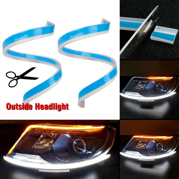 2Pcs 45cm 60cm LED Headlight Strip Light Daytime Running Flow Turn Signal Lamp