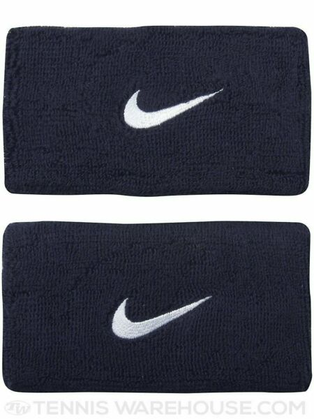 Nike Unisex Dri-Fit Doublewide Wristbands Obsidian Navy with White Swoosh - NIP
