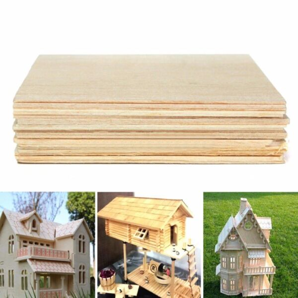 10pcs 200*100*1.5mm Wooden Plate Model Balsa Wood Sheets DIY House Ship Aircraft