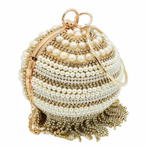 Vintage Round Clutch Women Beaded Evening Bags Crystal Tassel Bridal Handbag