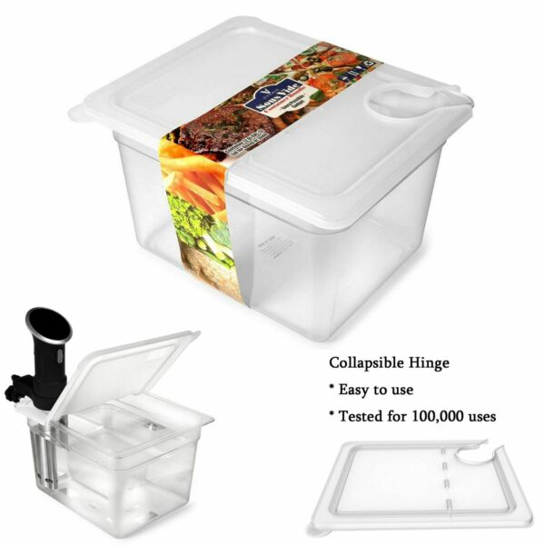 Sous Vide Container 12 Quart w Collapsible Hinge Lid Mount Corner Cooker Anova