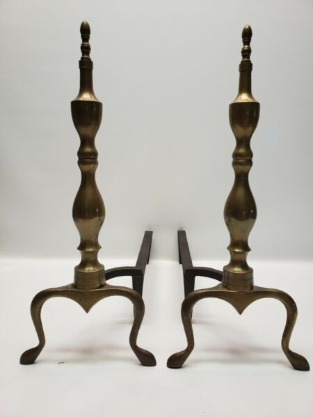 Vintage Logan Co. Federal Style Brass Fireplace Andirons - A Pair