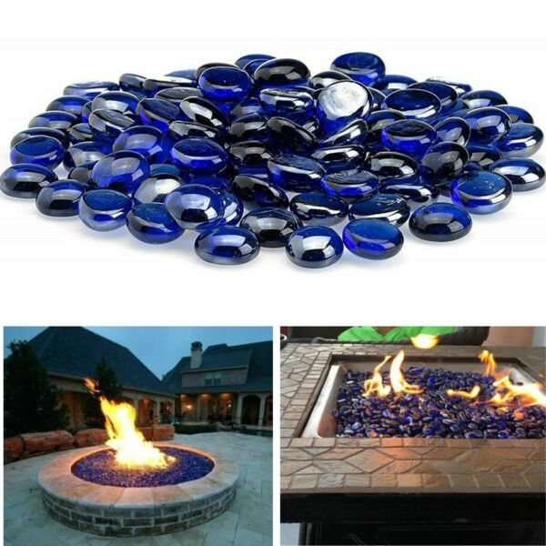 Blue Fire Pit Glass Beads Premium Fireplace Round Reflective Rocks Drops 10 lb