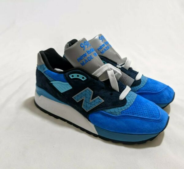 New Balance 998 Made in USA Blue Navy White Silver Mens Size 6 Womans 7.5 M998NE