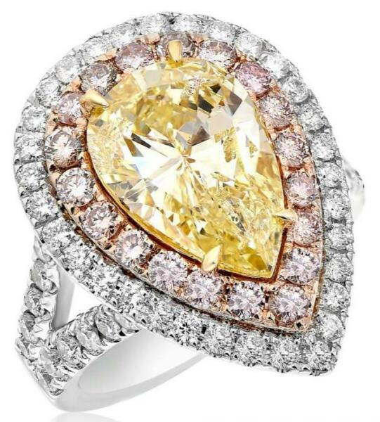 LARGE 6.88CT WHITE FANCY YELLOW & PINK DIAMOND 18KT 2 TONE GOLD ENGAGEMENT RING
