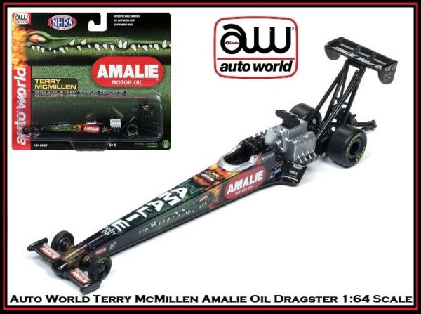 New Auto World 1 64th Die Cast Car Terry McMillen Amalie Oil Top Fuel Dragster