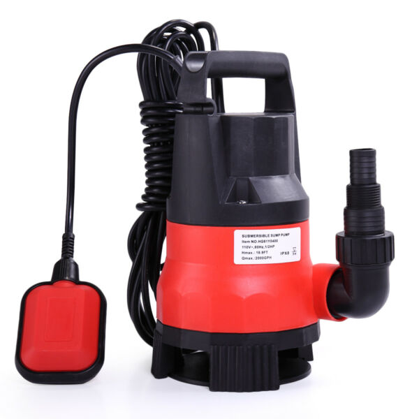 Submersible Water Pump 12 HP 2000GPH Clean Clear Dirty Pool Pond Flood Drain