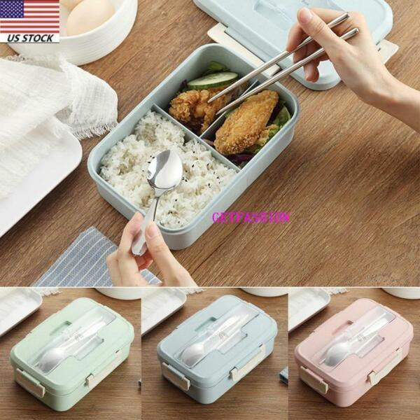 Leakproof Bento Lunch Box 3 Grids with Utensils Meal Prep Food Storage Container
