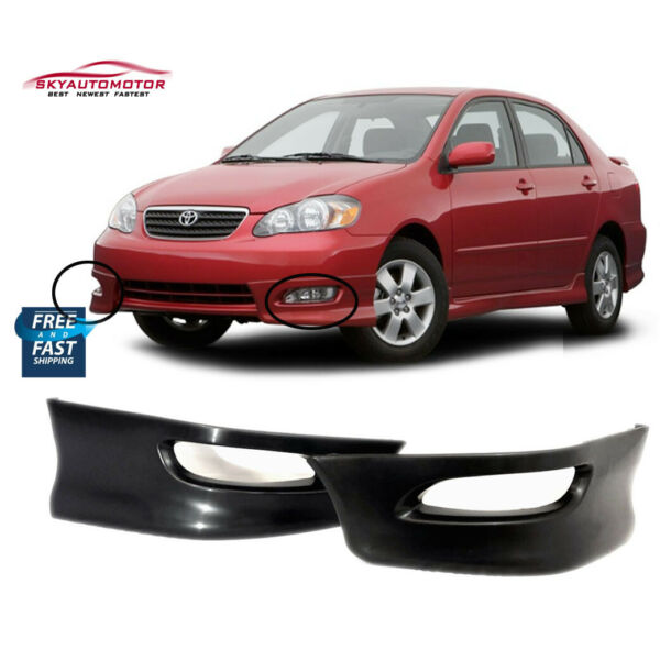 Fit 05 08 Toyota Corolla S Style Front Bumper Lip Spoiler Pair Black
