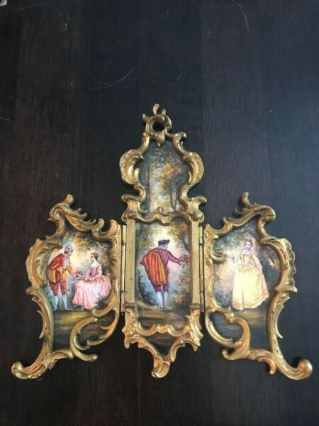 Hand Painted Enamel Miniature Antique Screen from Austria