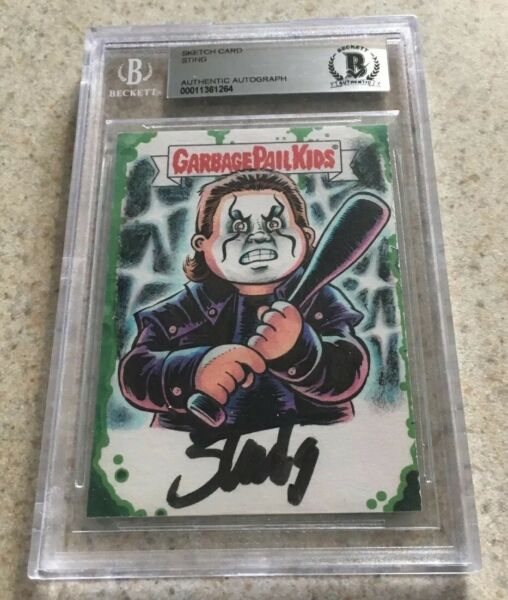 CROW STING WCW SIGNED AUTO GARBAGE PAIL KIDS SKETCH CARD GPK 2015 TOPPS 11 BAS