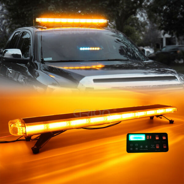 47quot; Rooftop Car Tow Truck COB LED Strobe Light Bar Emergency Warning Amber White $320.00