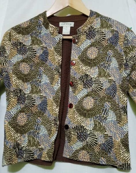 Orvis Quilted Lightweight Jacket Women#x27;s Small Flowers 5 Buttons Closure Soft