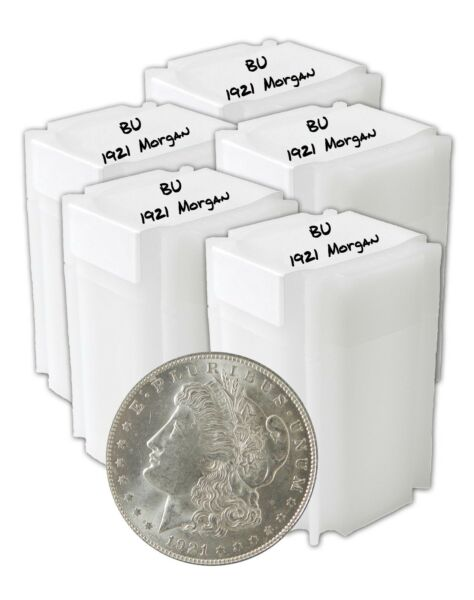 1921 Silver Morgan Dollar BU Lot of 100 Brilliantly Uncirculated Coins In Tubes