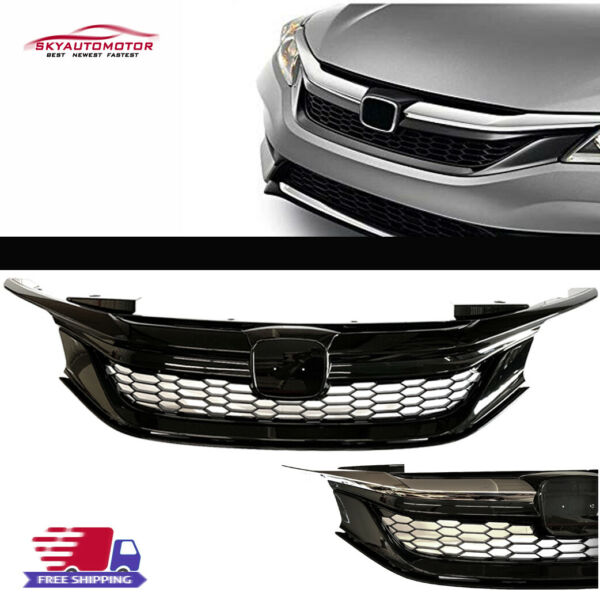 Fits For 16 17 9TH Gen Honda Accord Seden Front Grille Honeycomb Gloss Black