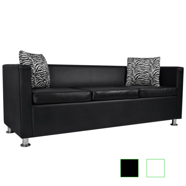 vidaXL 3-Seater Sofa Artificial Leather Living Room Home Furniture Black/White✓