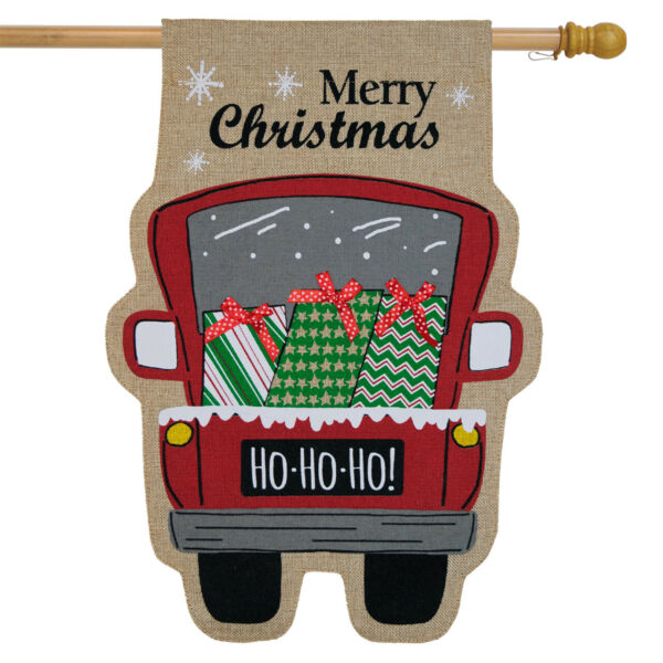 Christmas Delivery Burlap House Flag Pickup Truck Presents 28