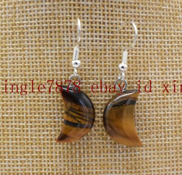 Natural 10x18mm Yellow Tiger's Eye 925 Silver Hook Earring AAA