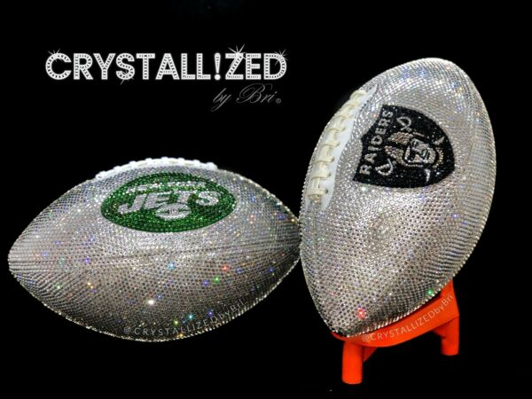 Any Team Fully CRYSTALLIZED FOOTBALL Game Sized w Swarovski Crystals Bling NFL