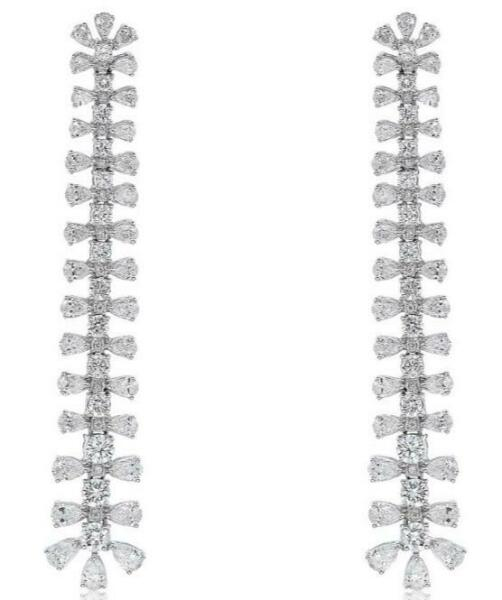 LARGE & LONG 7.12CT DIAMOND 18KT WHITE GOLD ROUND & PEAR SHAPE HANGING EARRINGS