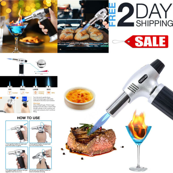 COOKING TORCH Refillable Kitchen Butane Culinary Burner Creme Brulee Blowtorc