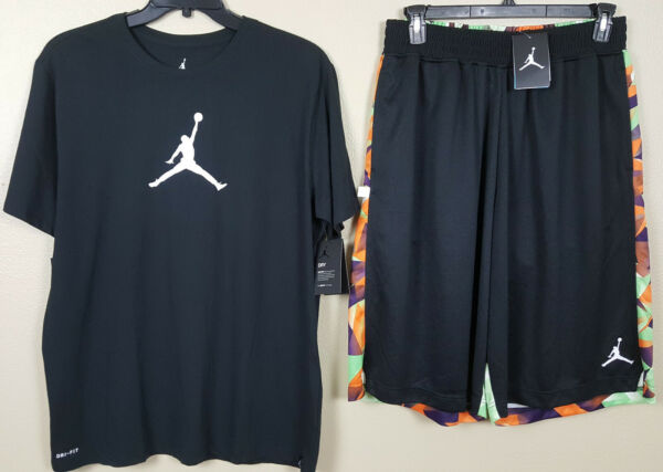 NIKE AIR JORDAN VII RETRO 7 HARE OUTFIT SHIRT + SHORTS BLACK RARE NEW (SZ LARGE)