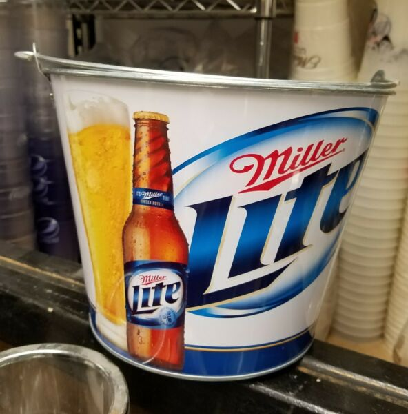 (2) Miller Lite Ice Buckets Party Drink Beer Holder Pail mancave 2012 New