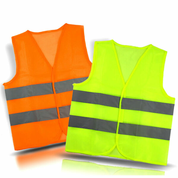 Neon Security Safety Vest w High Visibility Reflective Stripes Orange