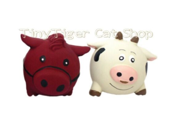 TWO Multipet Latex Ani-Ball Squeaker Dog Toy farm animal 2 pc Set Horse Cow