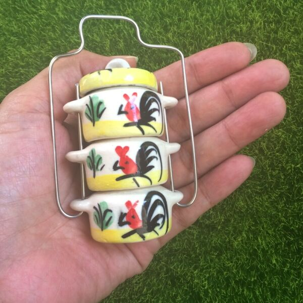 Yellow Ceramic 3 Tier Food Small Carrier Vintage Miniature Dollhouse Home Decor $14.24