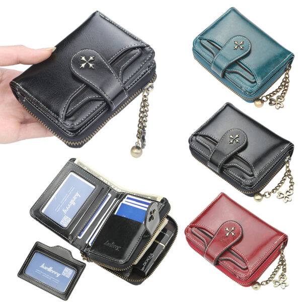 Womens Bifold Leather Short Zipper Wallets Vintage Clutch Card Holder Purse US