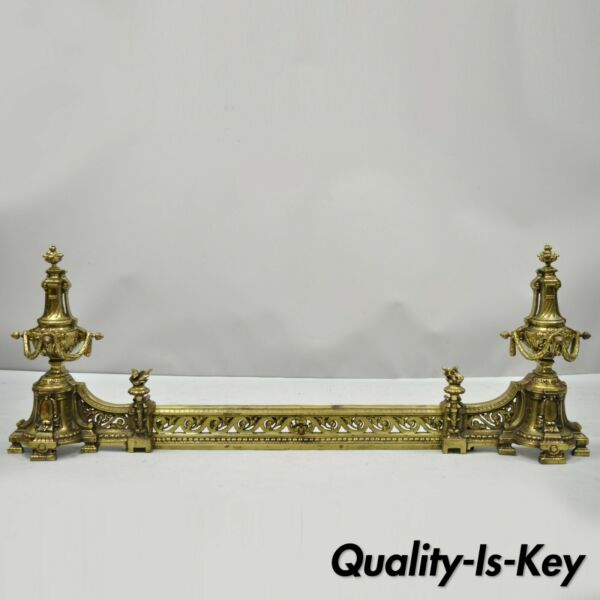 Antique French Louis XVI Brass Bronze Flame Finial Andirons w Adjustable Fender