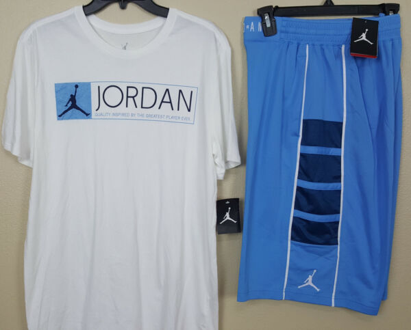 NIKE JORDAN RETRO 12 OUTFIT SHIRT + SHORTS WHITE UNC BLUE RARE (SZ LARGE MEDIUM)